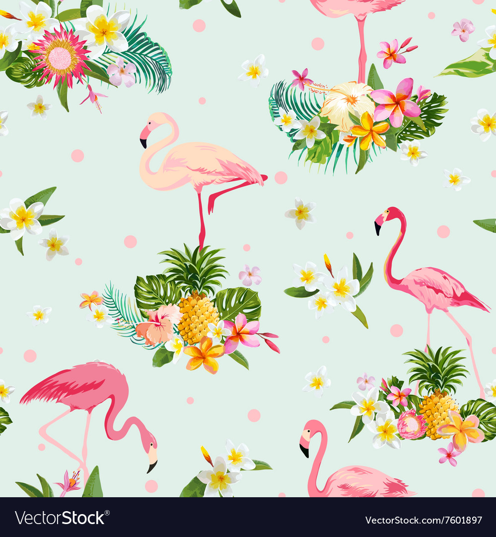 Flamingo bird and tropical flowers background vector