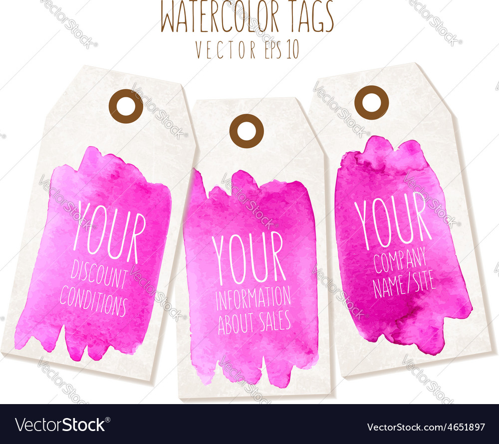 Set of hand drawn tags with watercolor background vector