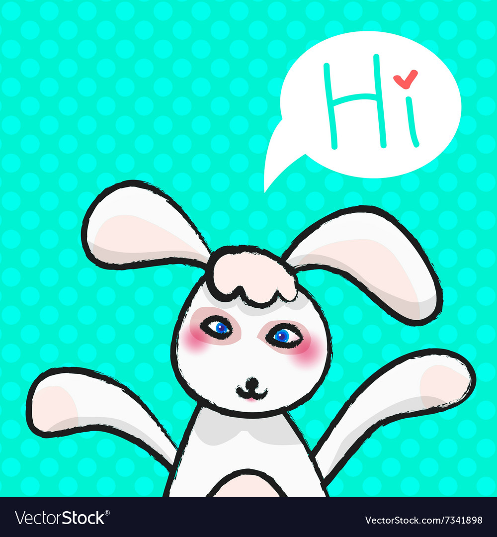 Greeting card white easter rabbit vector