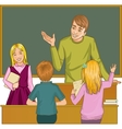 Teacher at blackboard in classroom with children vector image vector image