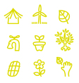 Green doodle environment and nature icons vector image vector image