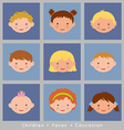set cute faces caucasian children flat style vector image vector image