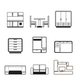 furniture and furnishing icons vector image vector image