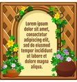 Wooden frame decorated flowers greeting card vector image