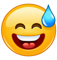smiling emoticon with open mouth and cold sweat vector image