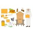 Beekeeping color icons set Man beekeer in special vector image