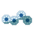 blue shading silhouette of abstract sunflowers vector image