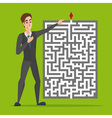 Businessman standing in front of a maze with red vector image