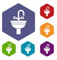 ceramic sink icons set vector image