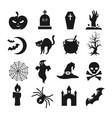 halloween black silhouette icons vector image