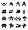 helmet icons set simple style vector image