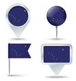 Map pins with flag of Alaska vector image