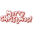 Red and white cartoon style Merry Christmas vector image