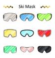 Ski goggles color line set icon vector image