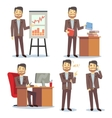 Businessman in various situations in office vector image