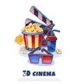 3d cinema composition vector image