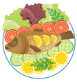 Dish with the baked fish vector image vector image