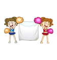 Cheerleaders with a sign vector image