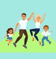 joyful family jumping vector image