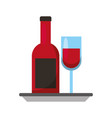wine bottle and glass with plate celebration vector image