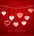 Valentine day hanging heart vector image