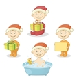 Cartoon children in Santa hat vector image vector image