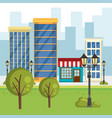 store building with cityscape scene vector image