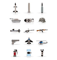 realistic weapon and war icons vector image vector image