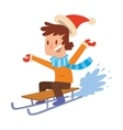 Christmas boy playing winter games vector image