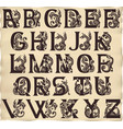 Gothic alphabet with gargoyls in medieval style vector image