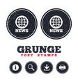 news sign icon world globe symbol vector image