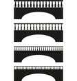 set of ancient stone bridge black silhouettes vector image