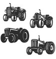 set of retro tractor icons design elements for vector image