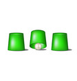 thimblerig with green cups and ball vector image