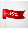 Red ribbon with inscription 35 percent discounts vector image