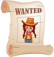 A poster of a wanted cowgirl vector image