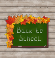 School green board with leaves on wooden texture vector image vector image