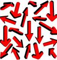set of red arrows vector image vector image