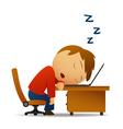 man sleeping at work vector image
