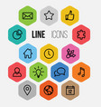 modern hexagonal thin line icon collection vector image