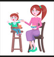 mother feeds baby who sits and cries on highchair vector image