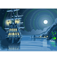 Nocturnal Adventure Island with Pirate Galleon vector image