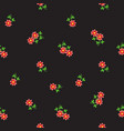 small tiny red flowers scattered on dark vector image