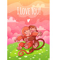 Two enamored monkeys hugging on the lawn vector image