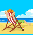 young man sitting in deck chair on tropical beach vector image