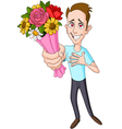 man giving flower bouquet vector image vector image