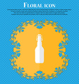 bottle Floral flat design on a blue abstract vector image