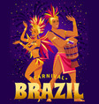 brazil carnival poster with beautiful brazilian vector image