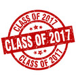 class of 2017 round red grunge stamp vector image