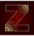 Vintage alphabet with floral swirls letter Z vector image